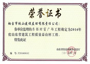 東銀財富廣場-2016年度 省建筑工程質量泰山杯工程