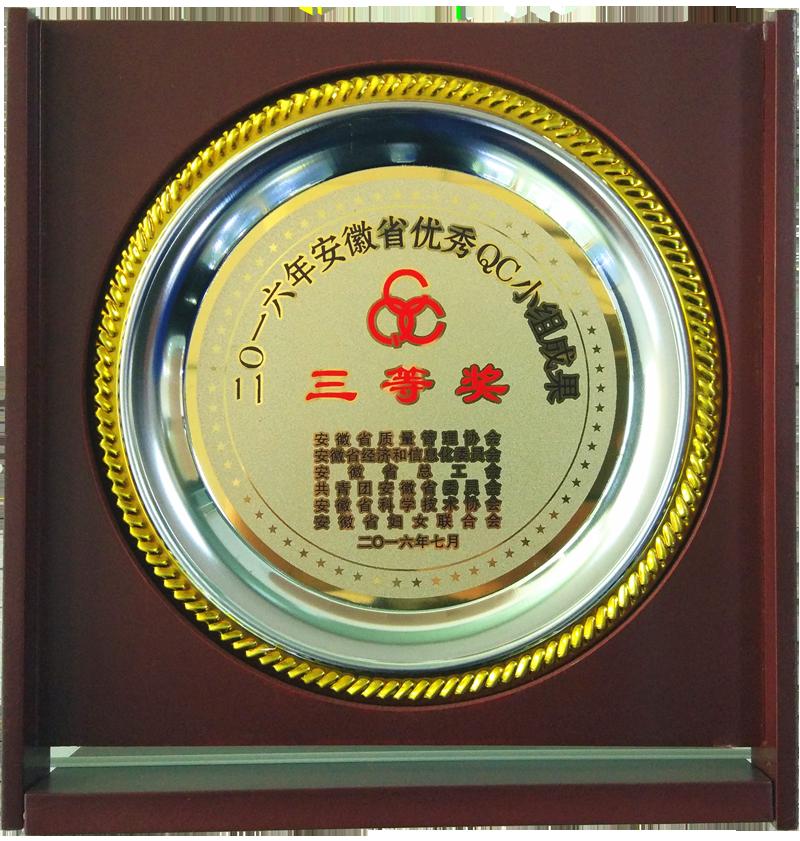 安徽省優秀QC小組成果三等獎