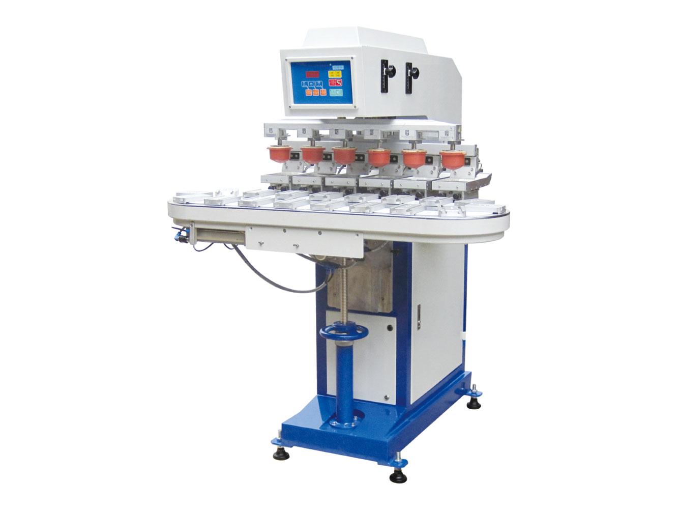 气动六色输送带移印机