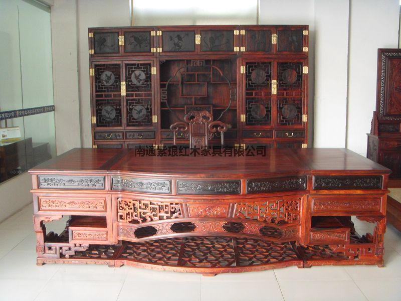 3米交趾黃檀寫字臺和書櫥