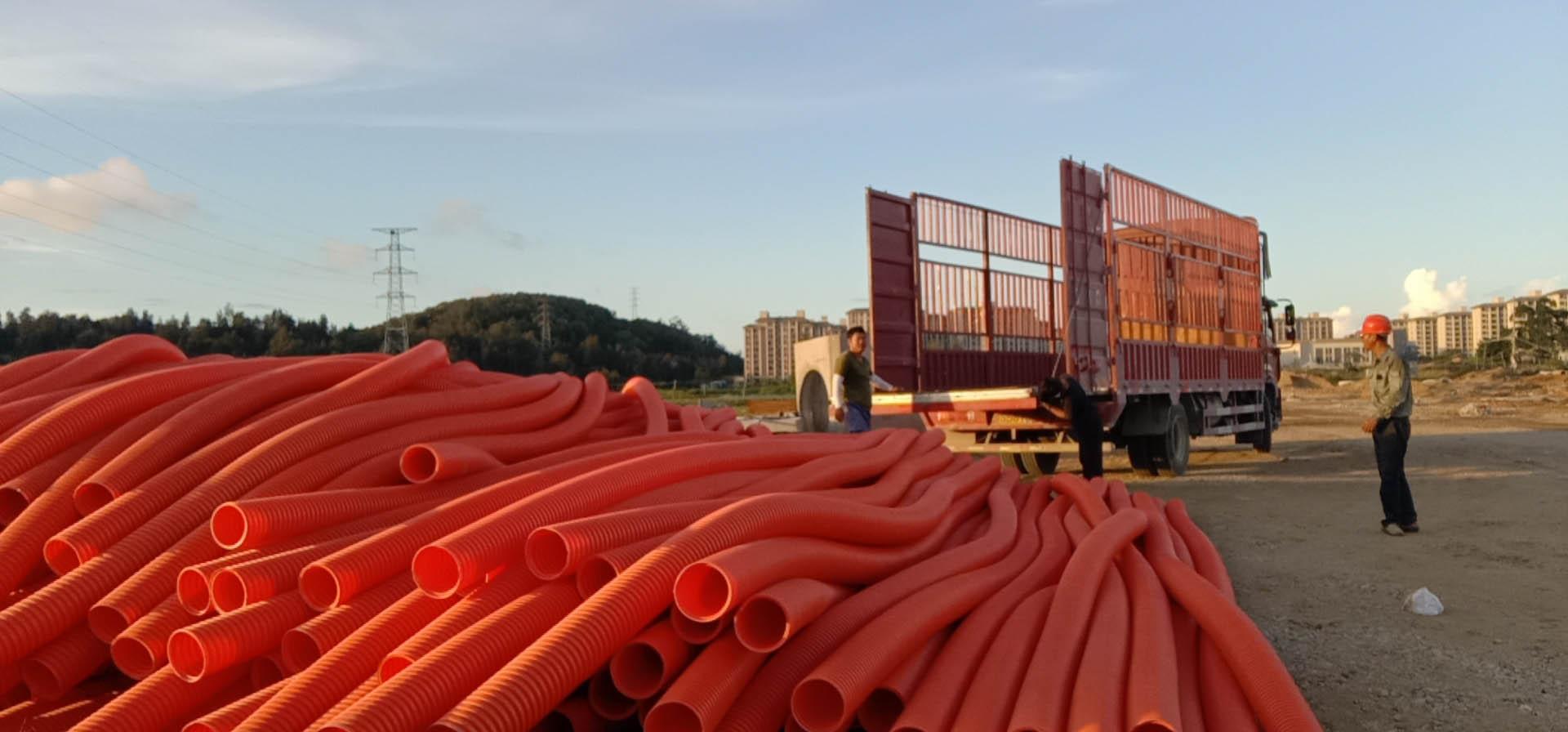 """福建融通管业有限公司生产的""""榕通""""牌HFB电力电缆护套管应用于长乐项目之中"""